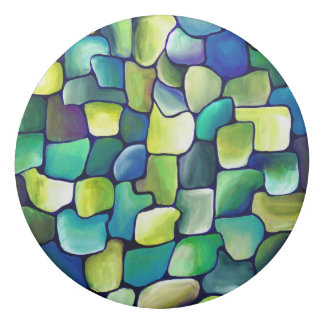 Vibrant Abstract Green Painted Tiles Eraser