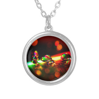 Vibrant Abstract Pattern Round Pendant Necklace