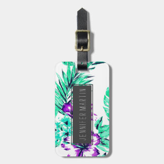 Vibrant Abstract Purple and Teal Tropical Flowers Luggage Tag