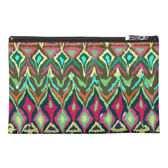Vibrant abstract tribal pattern travel accessory bag