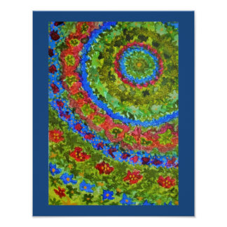 Vibrant abstract watercolor fractal garden poster