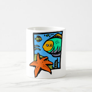Vibrant and Colorful Aquatic Art Design with Fish Basic White Mug
