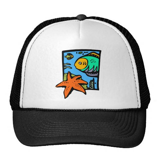 Vibrant and Colorful Aquatic Art Design with Fish Hat