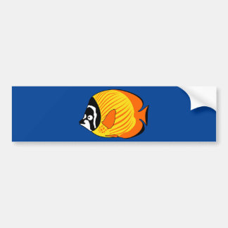 Vibrant and Colorful Cartoon Butterfly Fish Bumper Sticker