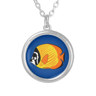 Vibrant and Colorful Cartoon Butterfly Fish Necklace