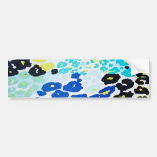 Vibrant Aqua Blue Lime Leopard Print Bumper Sticker