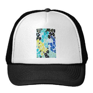 Vibrant Aqua Blue Lime Leopard Print Cap