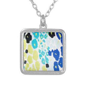 Vibrant Aqua Blue Lime Leopard Print Silver Plated Necklace