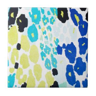 Vibrant Aqua Blue Lime Leopard Print Small Square Tile