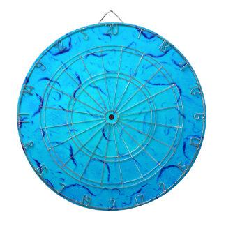 Vibrant Aquamarine Turquoise Rain on glass Dart Board