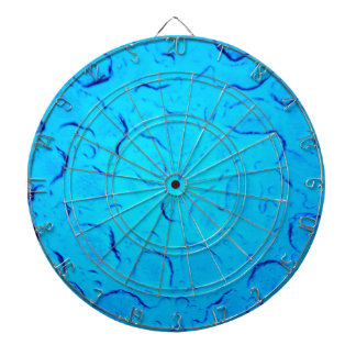 Vibrant Aquamarine Turquoise Rain on glass Dartboard