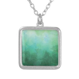Vibrant Aquamarine Watercolor Background Square Pendant Necklace