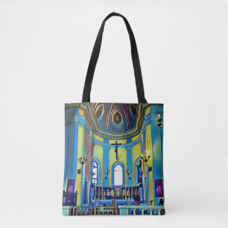 Vibrant Artistic Historical Church San Juan Tote Bag