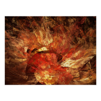 Vibrant Autumn Abstract Digital Fractal Poster