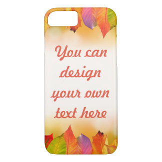 Vibrant Autumn Leaves with Customizable Text iPhone 8/7 Case