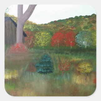 Vibrant Autumn Square Stickers