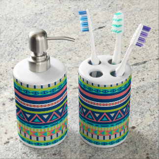 Vibrant Aztec Pattern Soap Dispenser And Toothbrush Holder