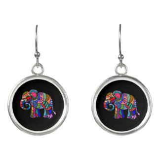Vibrant batik hippie colorful elephant painting earrings