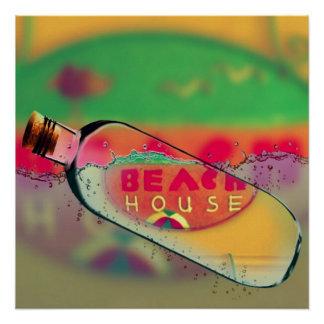 Vibrant 'Beach House' In a Bottle PIPCAM Poster
