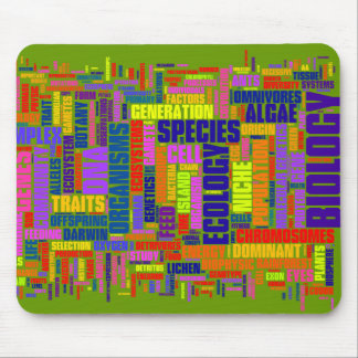 Vibrant Biology Wordle Mouse Mat