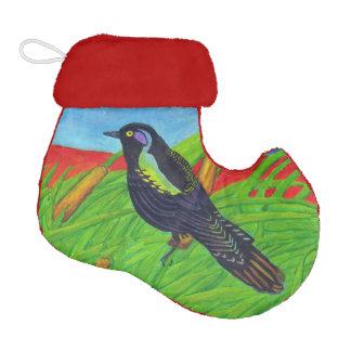 Vibrant Black Bird Tall Grass Elf Christmas Stocking