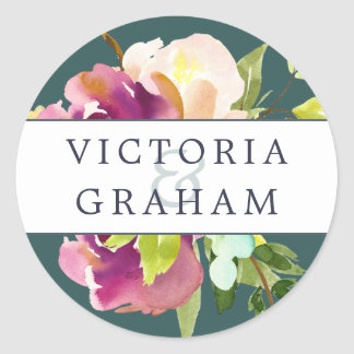 Vibrant Bloom Personalized Wedding Classic Round Sticker