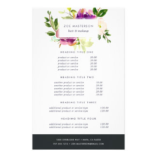 Vibrant Bloom Watercolor Floral Pricing & Services 14 Cm X 21.5 Cm Flyer