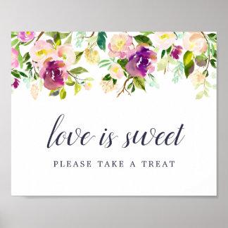 Vibrant Bloom Wedding Dessert Bar Sign