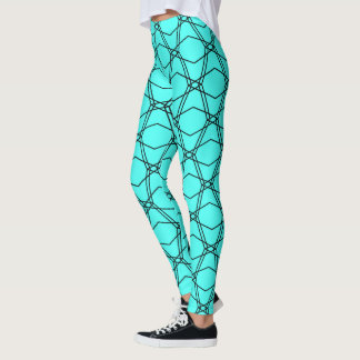 Vibrant Blue Aqua Geometric {Pattern Leggings