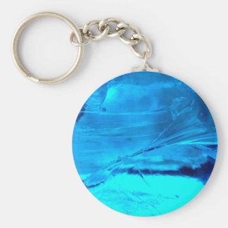 Vibrant Blue Crystal Geode Stone Print Key Ring
