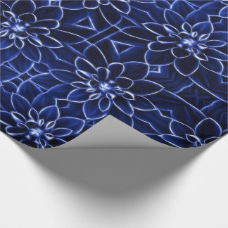 Vibrant Blue Flower Macro Trimmed Glowing White Wrapping Paper