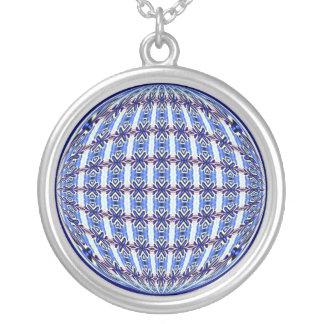 Vibrant Blue/Pink Pattern Globe Design Round Pendant Necklace