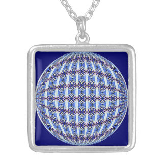 Vibrant Blue/Pink Pattern Globe Square Design Square Pendant Necklace