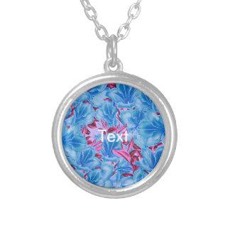 Vibrant Blue Pink Vintage Flowers Round Pendant Necklace