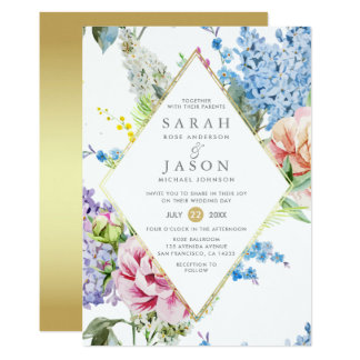 Vibrant Blue & Purple Watercolor Floral Wedding Card
