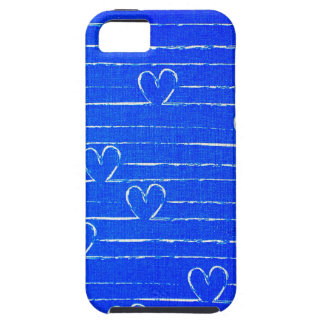 Vibrant Blue Sketched Heart Pattern iPhone 5 Cover