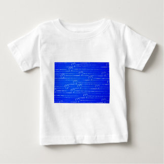 Vibrant Blue Sketched Heart Pattern T Shirts