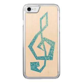 Vibrant blue treble clef illustration carved iPhone 7 case