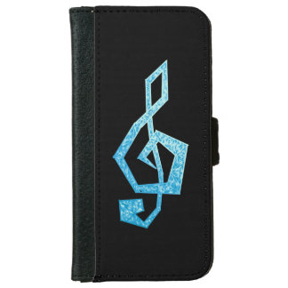 Vibrant blue treble clef illustration iPhone 6 wallet case