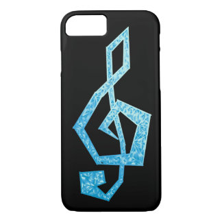 Vibrant blue treble clef illustration iPhone 7 case