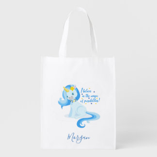 Vibrant Blue Unicorn Reusable Grocery Bag