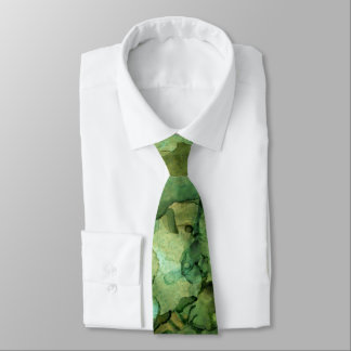 Vibrant Blues and Greens Abstract Fluid Art Tie
