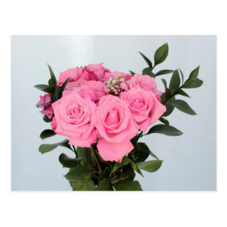 Vibrant Bouquet of Beautiful Pink Roses Postcard