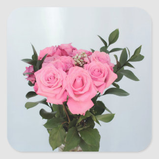 Vibrant Bouquet of Beautiful Pink Roses Square Sticker