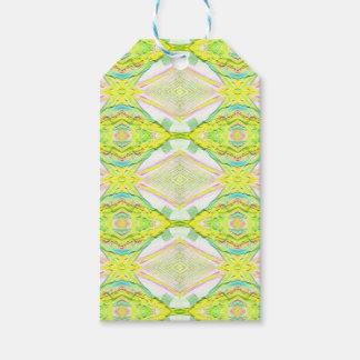 Vibrant Bright Lemon Lime Pastel Tribal Gift Tags