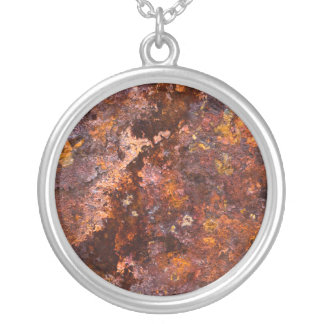 Vibrant Brown Rustic Iron Texture Round Pendant Necklace