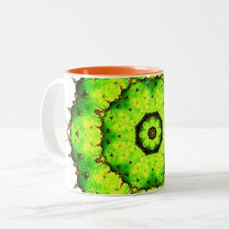 Vibrant Cactus Mandala Two-Tone Coffee Mug