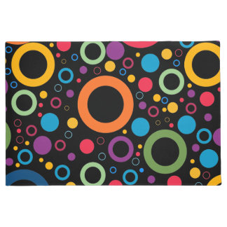 Vibrant circles and polka dots pattern doormat