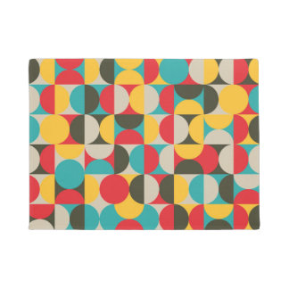 Vibrant color half circles pattern doormat