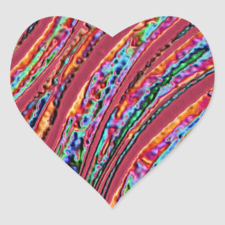Vibrant Colored Fall Leaf Heart Sticker